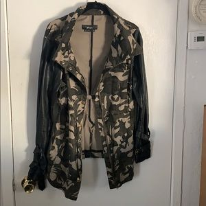 Camo jacket with black faux leather sleeves